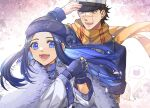 1girl :d asirpa blue_coat blue_eyes blue_gloves blue_hair blue_headband brown_eyes brown_hair coat earrings fingerless_gloves floating_hair gloves golden_kamuy haruka_(5885352) hat headband hiding highres jewelry long_hair long_sleeves military_hat open_mouth outdoors scar scar_on_cheek scar_on_face scarf short_hair smile sugimoto_saichi upper_body white_background yellow_scarf