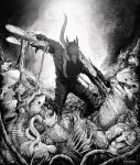 1boy absurdres arms_up battle blood chainsaw chainsaw_man clenched_hand denji_(chainsaw_man) english_commentary extra_arms feet_out_of_frame greyscale highres huge_filesize intestines looking_at_another male_focus marvin_(omarvin) monochrome monster no_eyes open_mouth pochita_(chainsaw_man) sharp_teeth solo_focus teeth transformation wide-eyed