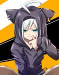 1boy ahoge androgynous animal_hood blue_eyes cat_hood collarbone commentary_request drawstring earrings green_eyes heterochromia hood hoodie jewelry looking_at_viewer mahiruno male_focus purple_hoodie signature sitting solo thumb_to_mouth utatane_piko v-shaped_eyebrows vocaloid white_hair