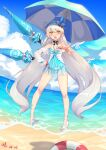 1girl absurdres antenna_hair beach blue_sky clouds cloudy_sky dress floating highres honkai_(series) honkai_impact_3rd kiana_kaslana kiana_kaslana_(herrscher_of_the_void) long_hair looking_at_viewer open_mouth sand sandals shell_hair_ornament sky solo starfish_hair_ornament summer summer_uniform sundress umbrella water xiaomu_(a414171448)