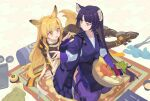 2girls animal_ear_fluff animal_ears arknights basket brown_hair brown_jacket ceobe_(arknights) chinese_commentary commentary dog_ears dog_girl dog_tail drooling favilia fingerless_gloves food fruit fruit_basket gloves holding holding_basket jacket japanese_clothes kimono kneeing long_hair long_sleeves looking_at_another looking_back multiple_girls pants purple_gloves purple_hair purple_kimono purple_pants puzzle_piece red_eyes saga_(arknights) tail whisk yellow_eyes