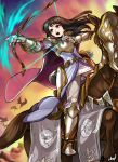 1girl absurdres animal armor armored_boots arrow_(projectile) astrid_(fire_emblem) black_hair boots bow_(weapon) fire_emblem fire_emblem:_radiant_dawn highres holding holding_bow_(weapon) holding_weapon horse horseback_archery horseback_riding long_hair open_mouth quiver riding sbql_(niaunclefan) shoulder_armor sunset weapon