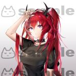 1girl absurdres arknights arm_up bangs black_choker black_shirt breasts chinese_commentary choker commentary_request cross cross_necklace gkd111 gradient gradient_background grey_background hair_between_eyes highres holding horns jewelry long_hair looking_at_viewer medium_breasts necklace official_alternate_costume redhead shirt short_sleeves solo surtr_(arknights) surtr_(liberte_echec)_(arknights) upper_body very_long_hair violet_eyes