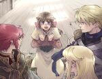 2boys 2girls acolyte_(ragnarok_online) armor assassin_(ragnarok_online) bandages bangs blonde_hair blue_eyes blush brown_capelet brown_hair brown_shirt cape capelet commentary_request eyebrows_visible_through_hair feet_out_of_frame long_hair long_sleeves looking_at_another looking_at_viewer multiple_boys multiple_girls open_mouth orange_eyes pauldrons priest_(ragnarok_online) purple_scarf purple_shirt ragnarok_online red_shirt redhead scarf sezaki_takumi shirt short_hair shoulder_armor skirt torn_scarf upper_body violet_eyes white_cape white_capelet white_skirt wizard_(ragnarok_online)