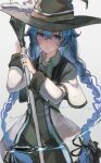1girl absurdres bangs blue_eyes blue_hair bow braid closed_mouth collared_shirt crossed_bangs hair_bow hands_up hat highres holding holding_staff kyara-suro long_hair long_sleeves looking_at_viewer mushoku_tensei roxy_migurdia shirt sidelocks solo staff standing twin_braids twintails upper_body water white_background witch_hat
