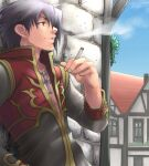 1boy bangs black_coat black_hair blue_sky brick_wall building cigarette clouds coat commentary_request cross cross_necklace day hair_between_eyes jewelry leaning_back long_sleeves looking_afar male_focus necklace open_clothes open_coat open_mouth outdoors priest_(ragnarok_online) ragnarok_online red_coat sezaki_takumi short_hair sky smoking solo town two-tone_coat upper_body violet_eyes