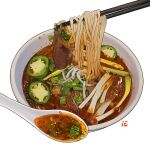 bowl chili chopsticks english_commentary food food_focus no_humans noodles original realistic simple_background soup spoon spring_onion still_life studiolg symbol_commentary vegetable white_background