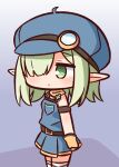 1girl aoi_(princess_connect!) bangs bare_shoulders black_shirt blue_headwear blush brown_gloves cabbie_hat chibi closed_mouth commentary_request eyebrows_visible_through_hair gloves green_eyes green_hair hair_over_one_eye hana_kazari hat highres looking_away overall_skirt pointy_ears princess_connect! shirt solo standing thigh-highs white_legwear