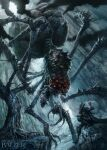 armor bag black_cape boots cape chasm commentary crown english_commentary full_armor giant giant_monster giant_spider helge_c._balzer highres holding holding_bag horror_(theme) legendarium metal_boots morgoth the_silmarillion ungoliant
