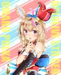 1girl ahoge animal_ears bangs bare_shoulders black_gloves blonde_hair blue_skirt bow bow_skirt bowtie braid character_name club_hair_ornament copyright_name detached_collar diamond_hair_ornament elbow_gloves facial_mark finger_to_mouth fox_ears gloves hair_between_eyes hair_ornament hair_over_shoulder hairclip halter_top halterneck hat heart heart-shaped_pupils heart_hair_ornament hololive jester_cap layered_skirt long_hair looking_at_viewer miniskirt mismatched_nail_polish mocacoco339 multicolored_hair nail_polish omaru_polka pink_hair red_neckwear side_braid single_elbow_glove skirt sleeve_cuffs solo spade_hair_ornament streaked_hair striped symbol-shaped_pupils tilted_headwear upper_body vertical-striped_skirt vertical_stripes violet_eyes virtual_youtuber wing_collar x_hair_ornament