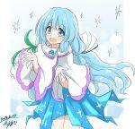 1girl blue_eyes blue_hair dress hair_ornament hisin long_hair simple_background snow snowflakes solo ursula_(xenoblade) white_dress xenoblade_chronicles_(series) xenoblade_chronicles_2