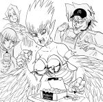 1boy 3girls armlet bare_shoulders bb_(baalbuddy) breasts burger chicken_nuggets claws collar commentary cup dipping drinking drinking_straw duel_monster eating english_commentary fangs food food_bite frappuccino harpie_lady_#1 harpie_lady_#2 harpie_lady_#3 harpie_lady_sisters harpy hat headset highres holding holding_cup jounouchi_katsuya ketchup mcdonald's monochrome monster_girl multiple_girls pointy_ears short_hair spiked_armlet spiked_armor spiky_hair winged_arms yu-gi-oh!