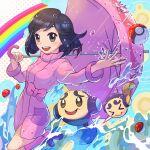 >_< 1girl :d bangs black_hair blush boots bow commentary_request eyelashes gen_5_pokemon highres holding holding_umbrella long_sleeves medium_hair npc_trainer open_mouth parasol_lady_(pokemon) pink_coat pink_footwear poke_ball poke_ball_(basic) pokemon pokemon_(creature) pokemon_(game) pokemon_bw rain rainbow shiny shiny_hair smile tom_(pixiv10026189) tongue tympole umbrella upper_teeth water water_drop