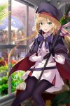 1girl absurdres artoria_pendragon_(all) artoria_pendragon_(caster)_(fate) bangs belt beret black_gloves black_legwear blonde_hair blue_cape blue_headwear blush breasts buttons cape double-breasted dress fate/grand_order fate_(series) gloves green_eyes hat highres holding holding_staff hood hooded_cape long_hair long_sleeves looking_at_viewer multicolored multicolored_cape multicolored_clothes musicatopos open_mouth pantyhose red_cape small_breasts smile solo staff thighs twintails white_dress