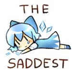 1girl :| artist_request bangs blue_bow blue_dress blue_footwear blue_hair blush_stickers bow chibi cirno closed_mouth dress english_text from_side full_body hair_between_eyes hair_bow looking_at_viewer looking_to_the_side lowres lying meme no_nose on_stomach outstretched_arm sad short_hair short_sleeves simple_background solo source_request tearing_up tears touhou white_background wings |_|