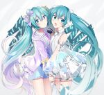 2girls :o agonasubi aqua_eyes aqua_hair bare_shoulders blue_eyes blue_skirt bow commentary detached_sleeves dual_persona frilled_shirt frilled_skirt frills hair_bow hair_ornament hatsune_miku hatsune_miku_expo headphones holding_hands jacket long_hair map_print microphone miniskirt multiple_girls open_mouth penlight pleated_skirt purple_bow purple_jacket see-through_dress see-through_sleeves shirt shoulder_tattoo side-by-side sideways_glance skirt smile star_(symbol) star_hair_ornament tattoo thigh-highs twintails very_long_hair vocaloid white_legwear white_shirt white_skirt