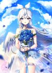 1girl bangs bare_arms bare_shoulders blue_flower blue_rose blue_shorts blue_sky bouquet clouds collarbone commentary_request day dress elsword eve_(niconico) eyebrows_visible_through_hair feathered_wings flower hair_between_eyes hair_ribbon holding holding_bouquet long_hair outdoors parted_lips ribbon rose see-through short_shorts shorts signature sky sleeveless sleeveless_dress solo very_long_hair white_dress white_hair white_ribbon white_wings wings xes_(xes_5377)