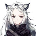 animal_ears forehead green_eyes hair_ornament hairclip lappland_(arknights) long_hair scar smile tagme white_hair wolf_ears wolf_girl