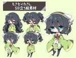 >_< 1girl :< asymmetrical_legwear bangs black_hair black_legwear blue_eyes blush bottle breasts chibi closed_eyes closed_mouth collared_shirt commentary_request drooling eyebrows_visible_through_hair fang green_background green_jacket green_skirt hair_between_eyes headphones headset highres jacket kyoumachi_seika large_breasts long_sleeves milkpanda mouth_drool multiple_views navel necktie nose_blush object_hug open_mouth parted_lips ponytail red_neckwear shirt short_eyebrows skirt sleeves_past_fingers sleeves_past_wrists thick_eyebrows thigh-highs thighhighs_pull translation_request triangle_mouth voiceroid white_shirt wide_sleeves |_|