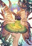 1girl absurdres antennae bare_shoulders blue_background blue_hair blurry breasts butterfly_on_finger butterfly_wings depth_of_field dress eternity_larva feet_out_of_frame foreshortening green_dress gyokudama_(niku) highres huge_filesize medium_breasts orange_eyes parted_lips short_hair simple_background smile solo touhou wings