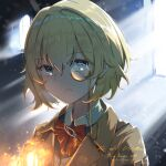 1girl blonde_hair blue_eyes bob_cut bow bowtie character_name dated frown highres hololive hololive_english jacket jl_tan lantern light_particles monocle snow solo virtual_youtuber watson_amelia wavy_hair window