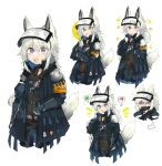 5girls :d :o absurdres animal_ears arknights armband blue_gloves eating food gloves grani_(arknights) grey_hair highres hip_vent holding holding_food holding_pizza holding_weapon horse_ears horse_girl horse_tail jacket long_hair looking_at_viewer multiple_girls odmised open_mouth pizza pizza_slice police police_uniform simple_background smile solo speech_bubble tail uniform upper_body violet_eyes visor_cap weapon white_background