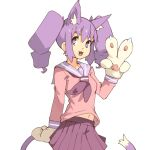 1girl :3 :d animal_ear_fluff animal_ears cat_ears cat_girl cat_tail commentary cowboy_shot drill_hair english_commentary gloves hand_up long_sleeves looking_at_viewer midriff_peek navel neckerchief open_mouth otachan paw_gloves paws pink_shirt pleated_skirt purple_hair purple_neckwear purple_sailor_collar purple_skirt sailor_collar school_uniform serafuku shirt simple_background skirt slit_pupils smile solo tail the_otachan_show twin_drills v vins-mousseux violet_eyes white_background