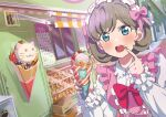 :3 absurdres al_aoi_aoba blue_eyes blue_nails blush bow cream cream_on_face crepe dress food food_on_face frilled_dress frilled_hairband frills grey_hair hairband highres love_live! love_live!_superstar!! nail_polish open_mouth pointing pointing_at_self road short_hair street tang_keke teeth