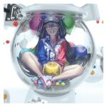 1girl 3d balloon black_hair border butterfly_sitting commentary_request gesoking hair_between_eyes hair_ornament hat highres in_container jacket long_hair mouth_hold original shoes shorts sleeves_rolled_up solo two_side_up white_border winding_key yellow_eyes