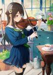 1girl black_hair braid cup flower instrument long_hair music original playing_instrument school_uniform solo tea teacup thigh-highs violin yoshitake