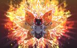 blue_eyes bug commentary_request embers full_body gen_5_pokemon glowing highres insect light_rays looking_at_viewer moth no_humans pokemon pokemon_(creature) solo volcarona white_fur yama_neko_3
