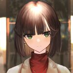 1girl bangs blurry blurry_background blush braid brown_hair brown_jacket closed_mouth commentary_request depth_of_field eyebrows_visible_through_hair green_eyes indoors jacket jazztaki looking_at_viewer original portrait red_sweater short_hair signature smile solo sweater turtleneck turtleneck_sweater wings