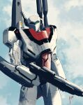 absurdres airborne clouds energy_cannon gunpod highres macross macross:_do_you_remember_love? macross:_the_first mecha original realistic redesign science_fiction shoulder_cannon signature solo themimig u.n._spacy upper_body variable_fighter vf-1 vf-1_strike vf-1s