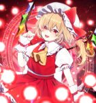 1girl :d ascot bangs blonde_hair bow cowboy_shot crystal eyebrows_visible_through_hair fang flandre_scarlet hat hat_bow highres looking_at_viewer medium_hair mob_cap open_mouth puffy_short_sleeves puffy_sleeves red_bow red_eyes red_skirt red_vest shirt short_sleeves side_ponytail skin_fang skirt smile solo spell_card standing touhou vest white_headwear white_shirt wings wrist_cuffs yellow_neckwear yurui_tuhu