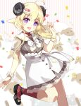 1girl :d ahoge animal animal_ears bangs black_footwear blonde_hair blush bow breasts commentary_request confetti curled_horns eyebrows_visible_through_hair feet_out_of_frame flower grey_shirt hair_between_eyes hair_ornament hairclip hand_up hololive horns long_hair looking_at_viewer medium_breasts open_mouth red_legwear ribbed_legwear sailor_collar see-through shadowsinking sheep sheep_ears sheep_girl sheep_horns shirt shoes short_sleeves skirt smile socks solo standing standing_on_one_leg striped striped_background tsunomaki_watame vertical_stripes violet_eyes virtual_youtuber white_bow white_flower white_sailor_collar white_skirt