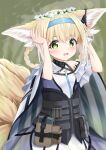 1girl animal_ear_fluff animal_ears arknights bare_shoulders black_choker blonde_hair blue_hairband blush braid choker colored_tips commentary earpiece fox_ears fox_girl fox_tail gloves green_eyes hairband hands_up head_wreath highres infection_monitor_(arknights) looking_at_viewer multicolored_hair open_mouth smile solo suzuran_(arknights) syurimp tail twin_braids two-tone_hair upper_body white_background white_hair wrist_cuffs