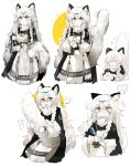 5girls absurdres animal_ear_fluff animal_ears arknights bead_necklace beads bell black_eyes blush braid breasts earrings hair_between_eyes highres holding holding_bell infection_monitor_(arknights) jewelry kjerag_logo leopard_ears leopard_tail long_hair medium_breasts multiple_girls multiple_persona necklace odmised pramanix_(arknights) ribbed_sweater scared side_braids silver_hair sweater tail tail_hug tassel tassel_earrings twin_braids upper_body white_background white_sweater