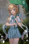 1girl ahoge bangs blonde_hair blue_eyes blush bow collared_shirt copyright_request cowboy_shot eyebrows_visible_through_hair forest grass grey_hair hands_up highres holding holding_umbrella leaf_umbrella long_hair looking_at_viewer lower_teeth minttchocok multicolored_hair nature open_mouth original outdoors plaid plaid_skirt pleated_skirt rain sailor_collar shirt short_sleeves skirt smile solo tree umbrella very_long_hair white_shirt