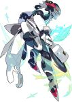 1boy aqua_pants artist_request ass circular_saw coat dual_wielding from_behind full_body glasses grin happy headgear highres holding holding_weapon holographic_interface humanoid_robot jumping labcoat looking_at_viewer looking_back male_focus mech_(world_flipper) non-web_source official_art open_clothes open_coat orange_eyes pince-nez rimless_eyewear short_hair sideways_mouth smile solo sparkle transparent transparent_background weapon white_coat white_footwear white_hair wide-eyed world_flipper