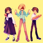 1girl 2boys aqua_shirt baguette bangs black_footwear black_hair black_pants black_skirt blush_stickers bowen_(omori) bread bread_slice brother_and_sister brothers brown_footwear brown_pants daphne_(omori) expressionless food full_body headphones headphones_around_neck highres loafers long_hair long_skirt low-tied_long_hair mary_janes mikhael_(omori) muffin multiple_boys omori pants shaded_face shirt shoes siblings skirt standing stylishtrash symbol_commentary tan twins unbuttoned wig yellow_background yellow_eyes