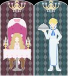 1boy 1girl apron argyle argyle_background arm_at_side blonde_hair blouse blue_background blue_eyes blue_neckwear border buttons caitlin_(pokemon) candelabra candle chandelier chef chef_uniform closed_eyes double-breasted elite_four foxrain1223 hair_ribbon heart holding holding_tray long_hair looking_to_the_side neckerchief pants parted_lips pink_background pink_blouse pink_footwear pink_ribbon pink_shirt pokemon pokemon_(game) pokemon_dppt pokemon_xy ribbon sanpaku shirt siebold_(pokemon) sitting standing table tray vector_trace very_long_hair white_apron white_border white_pants white_uniform younger