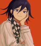 1boy bangs black_hair checkered checkered_scarf closed_mouth commentary danganronpa_(series) danganronpa_v3:_killing_harmony hair_between_eyes hand_on_own_cheek hand_on_own_face jacket long_sleeves looking_at_viewer male_focus ouma_kokichi purple_hair red_background renshu_usodayo scarf short_hair simple_background smile solo upper_body violet_eyes