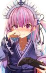 1girl anchor_symbol blush commentary_request controller crying eyebrows_visible_through_hair frilled_kimono frills game_controller hand_on_own_cheek hand_on_own_face highlights highres hololive japanese_clothes kimono looking_at_viewer maid_headdress minato_aqua multicolored_hair nintendo_switch_pro_controller pink_eyes pink_hair solo summer_tail720 taped_fingers virtual_youtuber