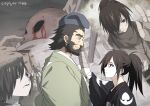 2boys age_progression beard black_eyes black_hair blood blue_headwear crying dated dororo_(tezuka) eye_contact facial_hair hand_on_another's_cheek hand_on_another's_face hyakkimaru_(dororo) japanese_clothes jukai_(dororo) kimono long_hair looking_at_another multiple_boys ponytail profile prosthesis prosthetic_arm suzukou thick_eyebrows younger