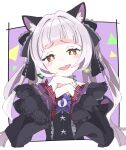 1girl animal_ear_fluff animal_ears bangs black_dress black_ribbon blunt_bangs blush border bright_pupils cat_ears dress frilled_ribbon frilled_sleeves frills gothic_lolita hair_ribbon hololive ixy layered_sleeves lolita_fashion looking_at_viewer murasaki_shion official_alternate_costume open_mouth outside_border pinstripe_dress pinstripe_pattern purple_background ribbon short_eyebrows sidelocks silver_hair solo striped twintails white_border white_pupils yellow_eyes