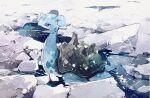 afloat blue_eyes bright_pupils closed_mouth day gen_1_pokemon highres ice kamonabe_(kamonabeekon) lapras no_humans outdoors pokemon pokemon_(creature) solo water white_pupils