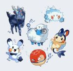alternate_element alternate_form arms_up black_eyes blitzle blue_background blue_eyes blush_stickers brown_eyes bubble claws colored_sclera commentary_request emolga full_body gen_1_pokemon gen_2_pokemon gen_5_pokemon happy joltik leg_up looking_up mareep newo_(shinra-p) no_humans open_mouth orange_sclera outstretched_arms pichu pokemon pokemon_(creature) running simple_background smile standing voltorb water