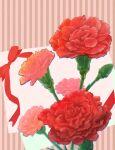 bow brown_background bud flower highres no_humans original red_flower red_ribbon red_rose ribbon rose still_life striped striped_background white_background yomoyama_yotabanashi