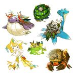 :< :o alternate_color black_eyes bright_pupils bug butterfly closed_eyes closed_mouth commentary_request coral crustle gen_1_pokemon gen_2_pokemon gen_3_pokemon gen_5_pokemon insect jirachi lapras lily_pad looking_back lotad mythical_pokemon newo_(shinra-p) no_humans open_mouth pokemon pokemon_(creature) shiny_pokemon skiploom smile teeth wailmer water white_pupils
