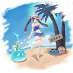 1girl ;p absurdres alternate_costume ball barefoot beach beachball blue_sky choker cup day drink drinking_glass feet full_body genshin_impact hair_ornament hat highres horns looking_at_viewer midriff mona_megistus navel one_eye_closed sarong shirt sign sky slime_(genshin_impact) slime_(substance) solo sunglasses tied_shirt toes tongue tongue_out tropical_drink twintails xiachujin